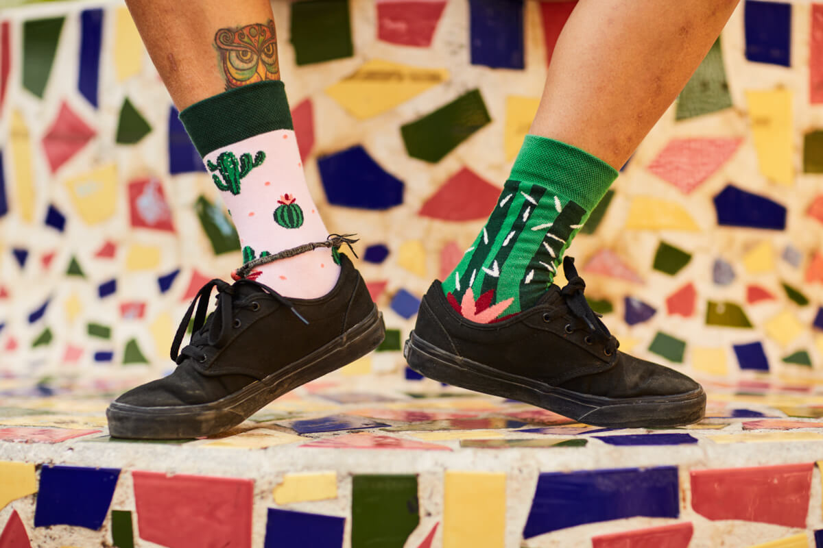 socks with cactus