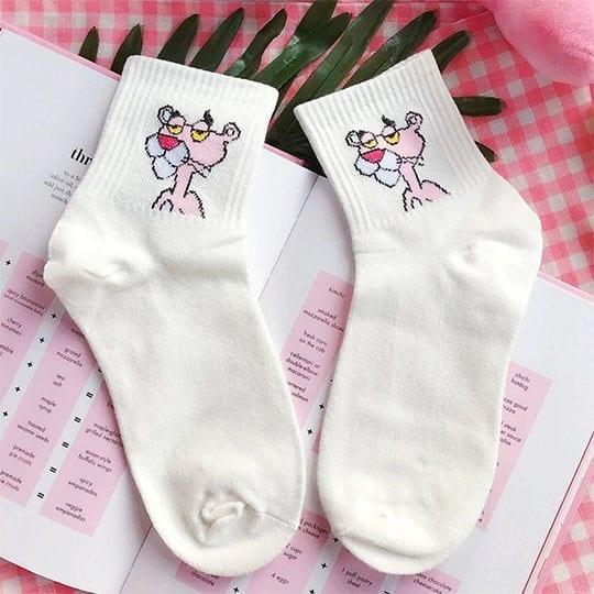 pink panther white socks