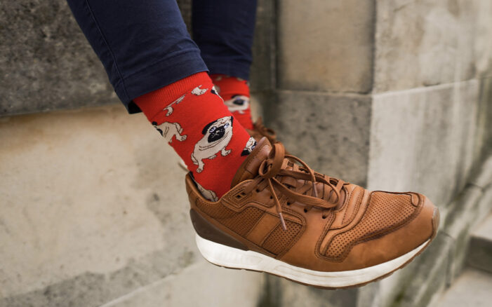 pug socks brown shoes