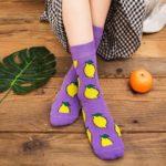 purple socks in lemon pattern