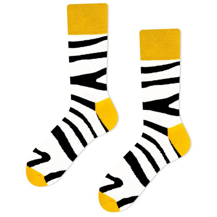 zebra socks white yellow black