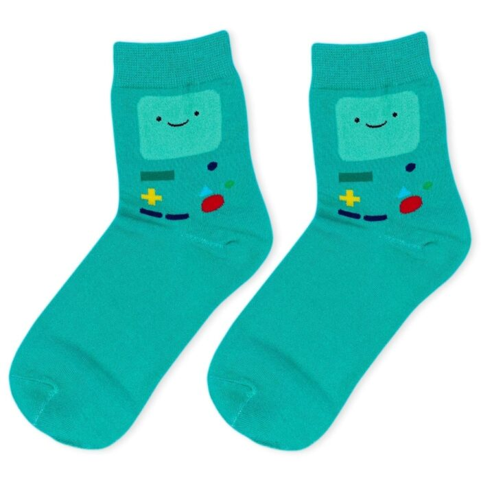 pair of sea green socks with beemo