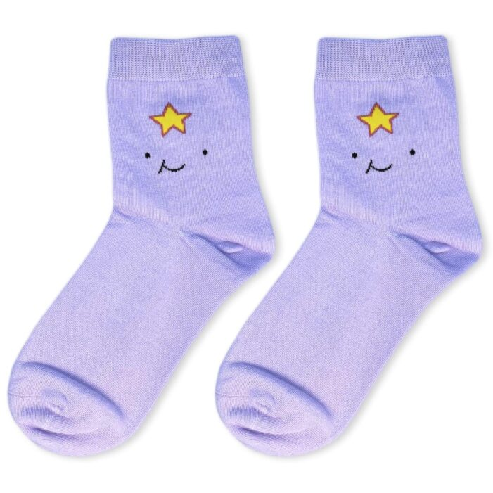 pair of purple socks with lumpy space princess