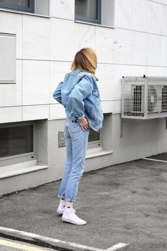 jeans outfit with white socks