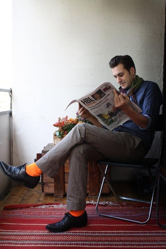 orange socks outfit