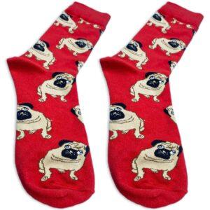 red-pug-socks