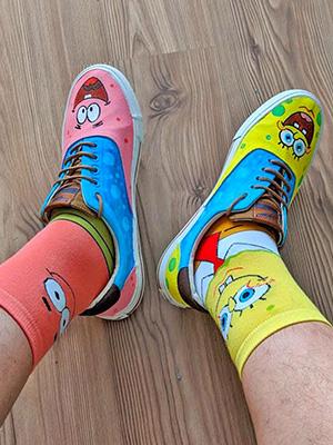 cartoon socks with SpongeBob and Patrick